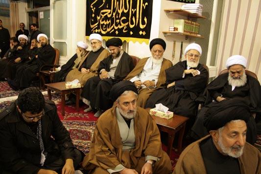 مراسم در دفتر حضرت آیت الله محمد فاضل لنکرانی قدس سره (نهم ماه محرم 1433)