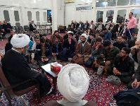 دیدار جمعی از طلاب شهرستان شهرضا با آیت الله فاضل لنکرانی(دامت برکاته) در دفتر معظم له